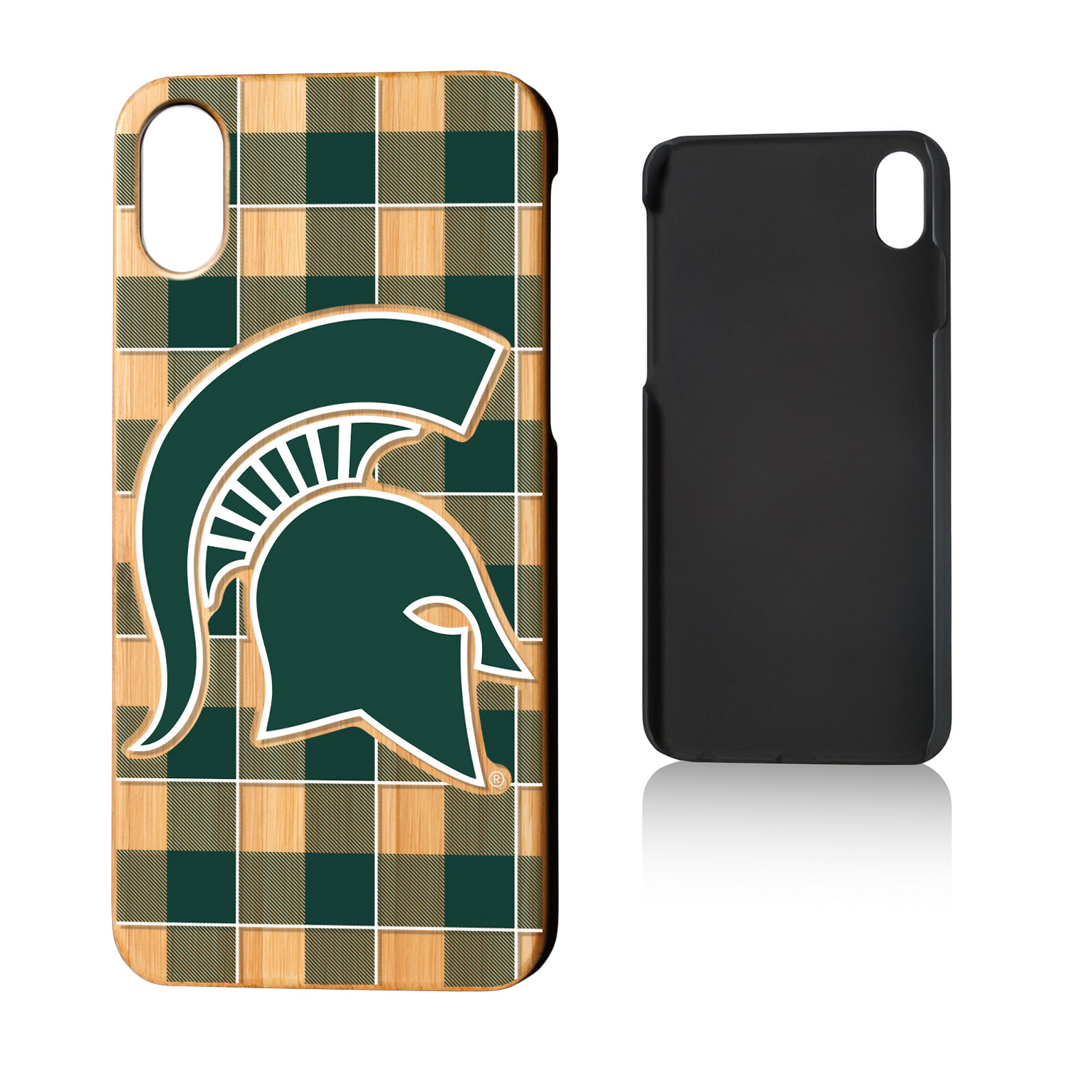MSU Michigan State Spartans Plaid Bamboo Case for iPhone X