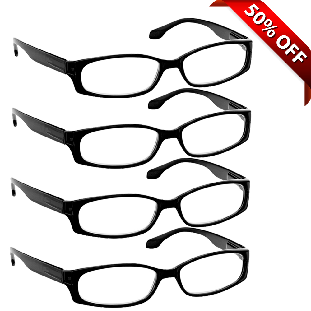 Reading Glasses +1.75 | 4 Pack of Readers for Men and Women | 4 Black
