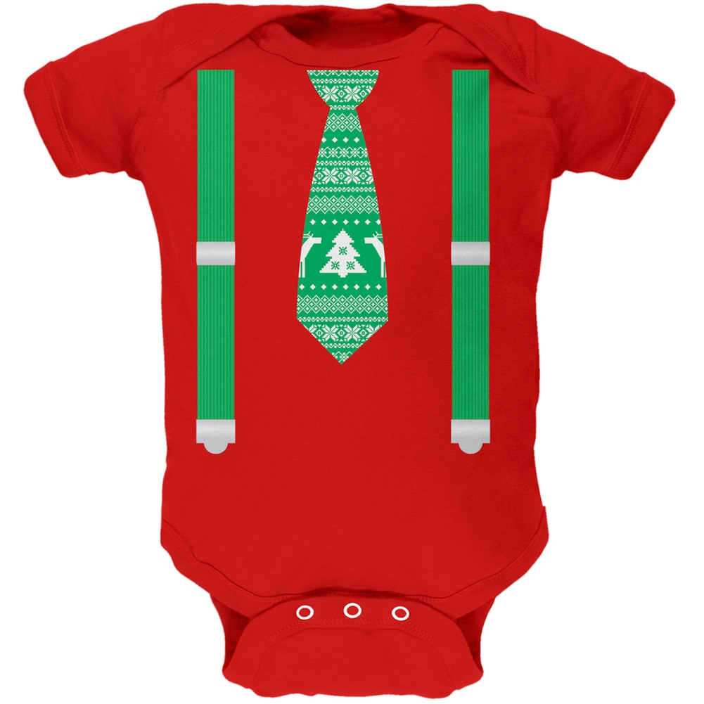Ugly Christmas Sweater Tie With Suspenders Red Baby One Piece