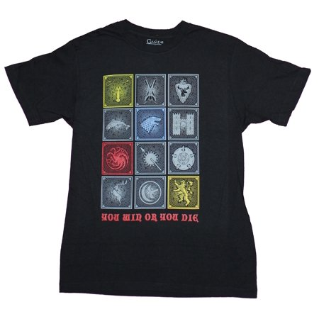 Game of Thrones Mens T-Shirt - 12 Box Crests Sigils You Win Or Die Image (Small)