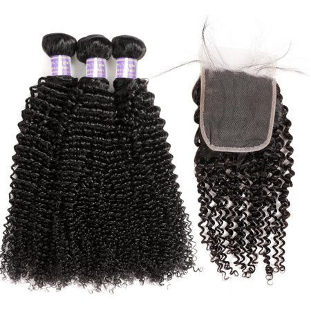 Allove Brazilian Hair Extensions Kinky Curly 3pcs Human Hair Bundles with Closure, 16