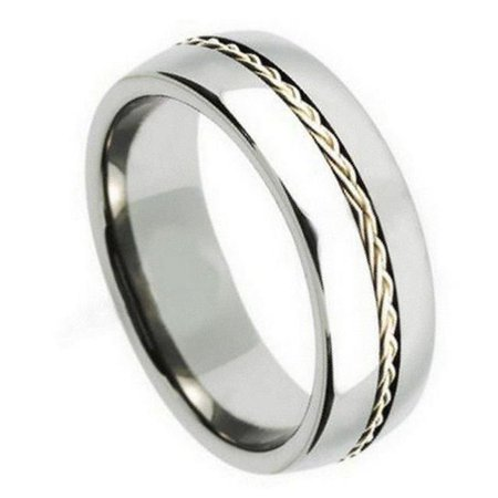 TK Rings 217TR-8mmx7.0 8 mm Grooved with Braided Sterling Silver Insert Tungsten Ring - Size 7