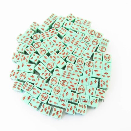 Green Alien Glow in the Dark Dice with Red Aliens D6 16mm (5/8in) Bulk Pack of 100 Koplow Games](Dice In Bulk)