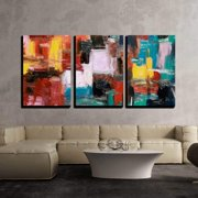 """wall26 - 3 Piece Canvas Wall Art - Abstract Painting - Modern Home Decor Stretched and Framed Ready to Hang - 24""""x36""""x3 Panels"""