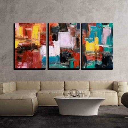 3 Piece Wall Decor - wall26 - 3 Piece Canvas Wall Art - Abstract Painting - Modern Home Decor Stretched and Framed Ready to Hang - 24