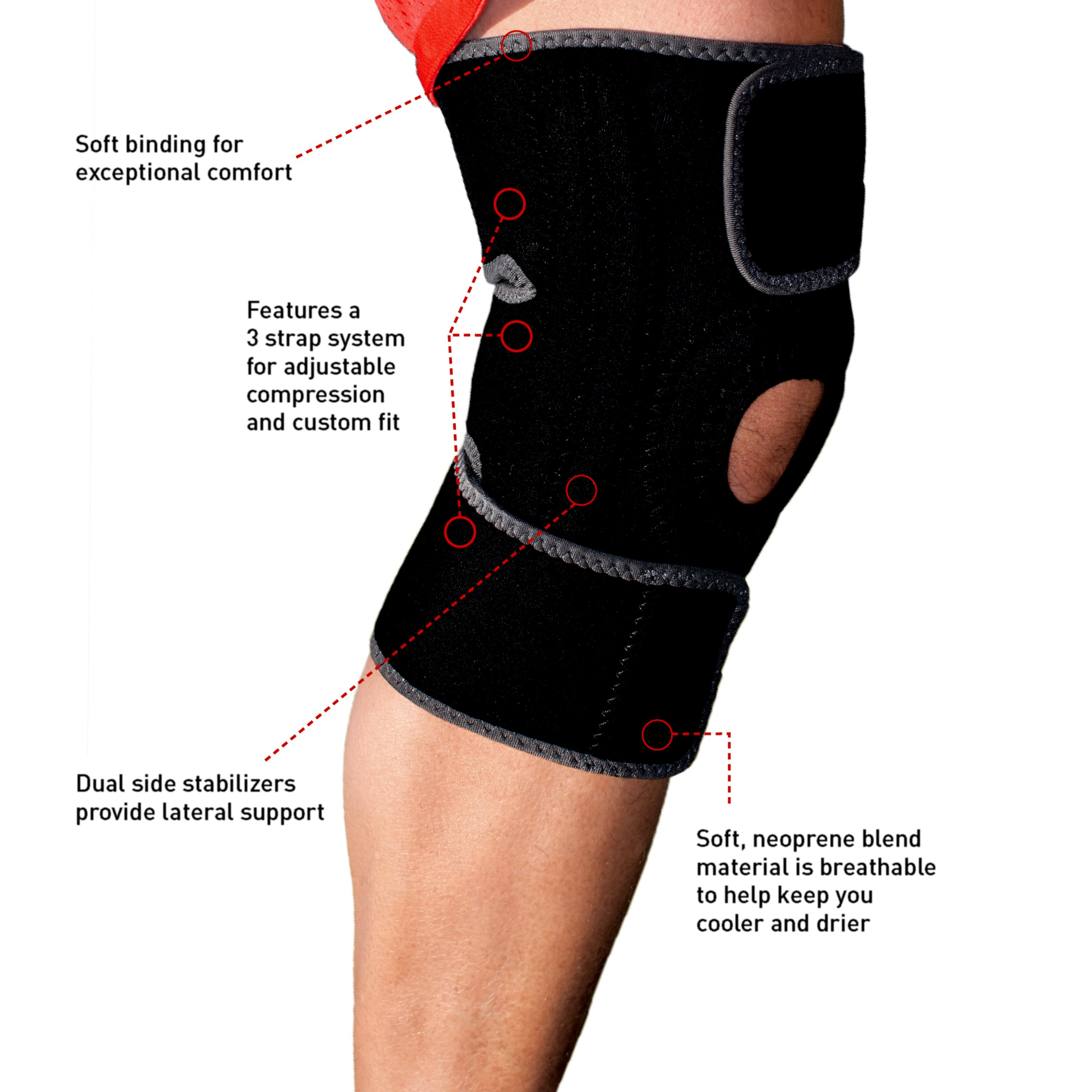 df8db2bf26 ACE Knee Brace with Dual Side Stabilizers, Adjustable, Black/Gray -  Walmart.com