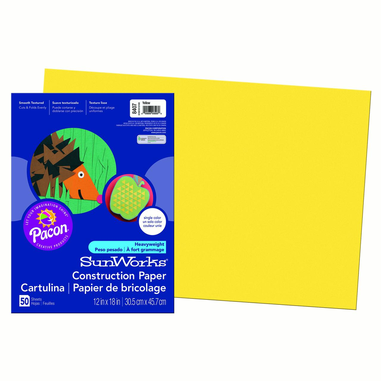 "Pacon® SunWorks® Construction Paper, 12"" x 18"", Yellow - 50 Sheets per pack, 10 packs"