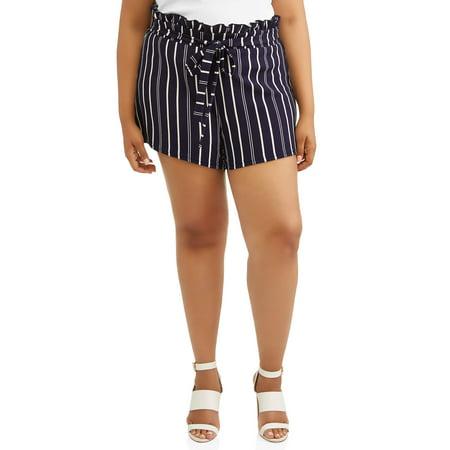 Derek Heart Juniors' Plus Size Paperbag Waist Striped Short