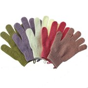 5 Pair 5 Color Thick Type Double Sided Exfoliating Gloves Body Scrubber Scrubbing Glove Bath Mitts Scrubs for Shower, Body Spa Massage Dead Skin Cell