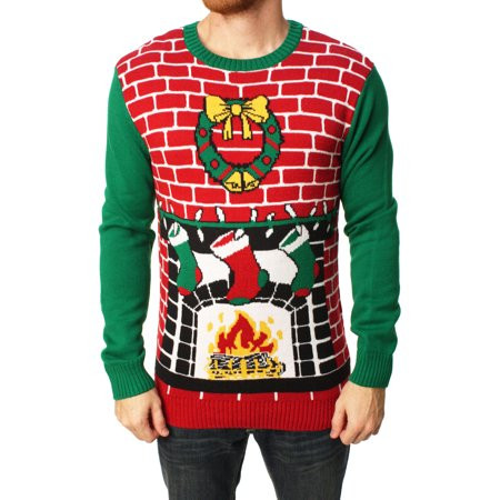 Ugly Christmas Sweater Men's Fireplace Pullover Sweater ()