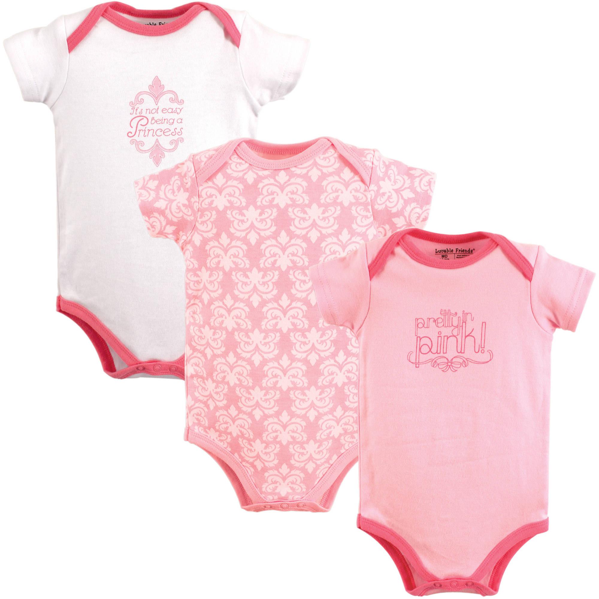 Luvable Friends Newborn Baby Girls Bodysuit 3 Pack