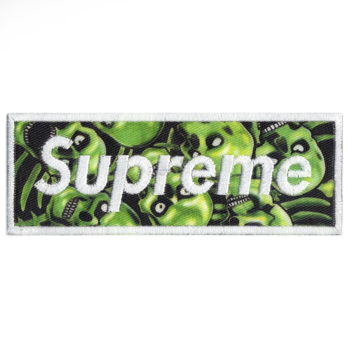 Supreme Green Skull Pile Box Logo Print Iron On Patch