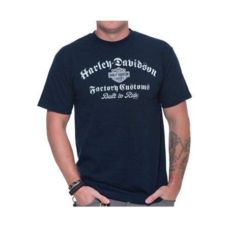 Harley-Davidson Men's Built To Ride Chest Pocket Short Sleeve T-Shirt, Navy Blue, Harley