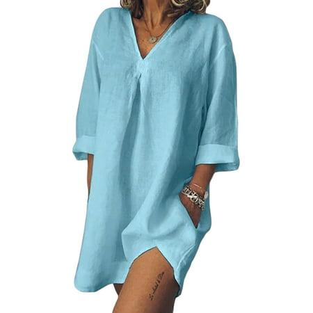 Plus Size Women Cotton Linen Baggy T-Shirt Dress Tops Ladies Boho Kaftan Tunic Dress Casual Loose Short Mini Dress with Pocket