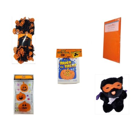 Halloween Fun Gift Bundle [5 Piece] -  Black & Orange Pumpkin Garland 10 ft. - Bright Pumpkin Orange Plastic Table Cover  -  Trick or Treat Bags 40/ct - Gel Clings Pumpkins, Stars - Manley Toys  Cos