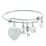 Ursteel Charms Bracelet For Women Initials Initial Bracelet with Heart Charm, Silver Handmade Womens Letter Expandable Bangle Bracelet Birthday Jewelry Gifts for Women Teen Girls