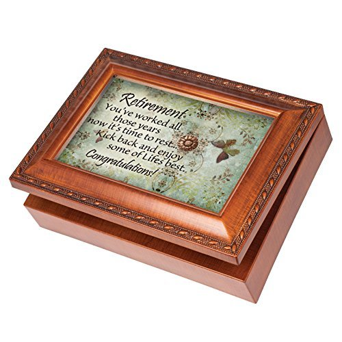 Retirement Congratulations Wood Finish Jewelry Music Box Plays Tune How Great Thou Art