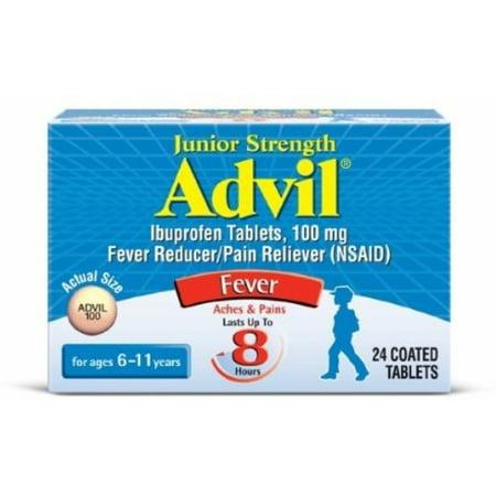 Advil Chewable Tablets Junior Strength 100 mg, Grape 24 ea (Pack of 2)