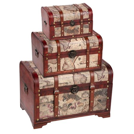 3-Piece Set Map Pattern Antique Style Wooden Storage Chests, Brown Pirate Treasure Container Storage Trunks Cabinet for Decorative Home Bedroom Closet Organizer, 3 Different Sizes Treasure Box Chest Trunk