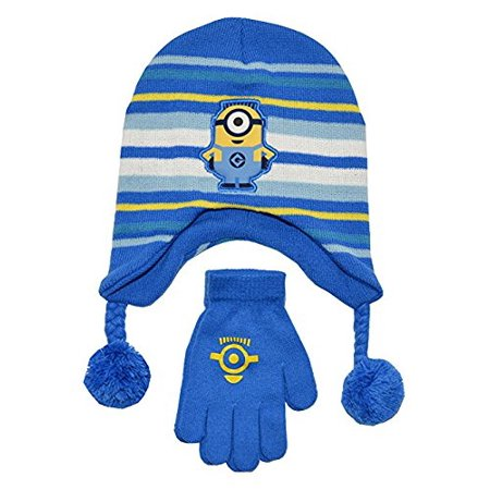 Despicable Me One Minion Hat And Glove Set (OS, Blue) (Despicable Me Minion Hat)