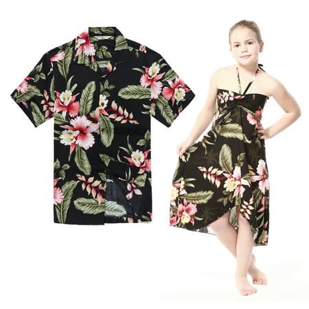 Matching Hawaiian Luau Outfit Men Shirt Girl Dress in Black Rafelsia Men XL Girl 4