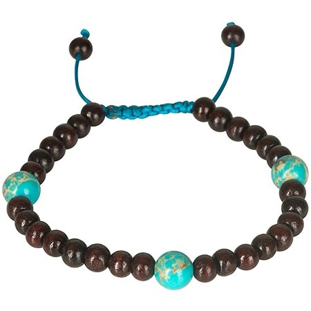 Gemstone Handmade Indian Jewelry - Tribe Azure Rosewood Adjustable Wood Bracelet Gemstone Dark Healing Meditation Yoga Buddhist Chakra Spiritual Boho Hippie Women Fashion Delicate Everyday Comfortable Handmade