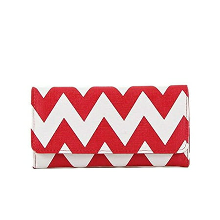 StylesiLove Womens Two Tone Chevron Zigzag Trifold Leatherette Long Wallet Red Red Heart Wallet