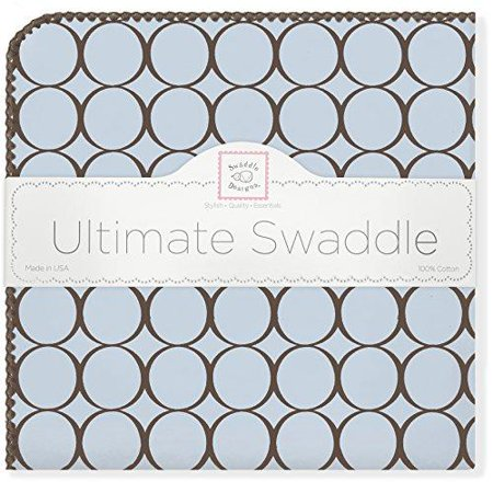 - SwaddleDesigns Ultimate Swaddle Blanket, Brown Mod Circles, Pastel Blue