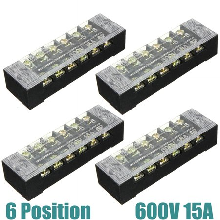 ELEGIANT 4Pcs 600V 15A 6 Position Dual Row Wire Barrier Screw Terminal Connector Panel Block/Strip Bar TB-1506
