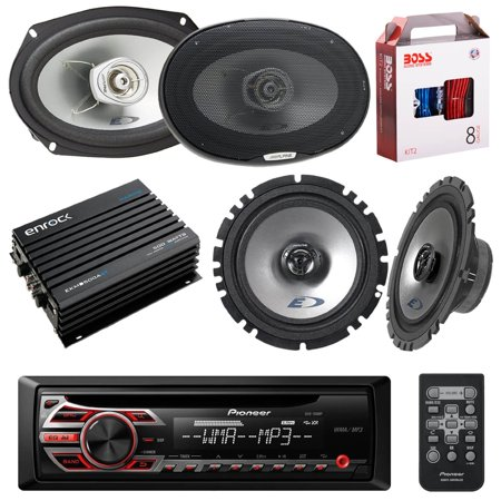 Pioneer DEH150MP DIN Car Stereo Kit Bundle with 2 Alpine 6x9-Inch ...