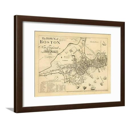 1722, Boston Captain John Bonner Survey Reprinted 1867, Massachusetts, United States Antique Maps Framed Print Wall Art