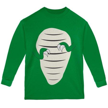 Halloween Jurassic   T Rex Costume Green Youth Long Sleeve T Shirt