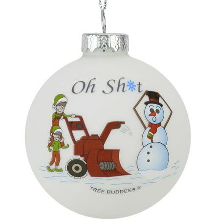 Glass Ornaments Bulk (Tree Buddees Oh Sht Funny Snowblower vs Snowman Glass Bulb)