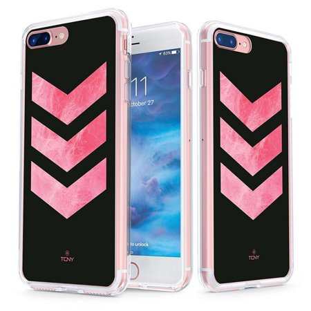 the best attitude 904b7 48ef0 iPhone 8 Plus Chevron Case - True Color Clear-Shield Pink Textured Chevron  Stripes Printed on Clear Back - Soft and Hard Thin Shock Absorbing ...