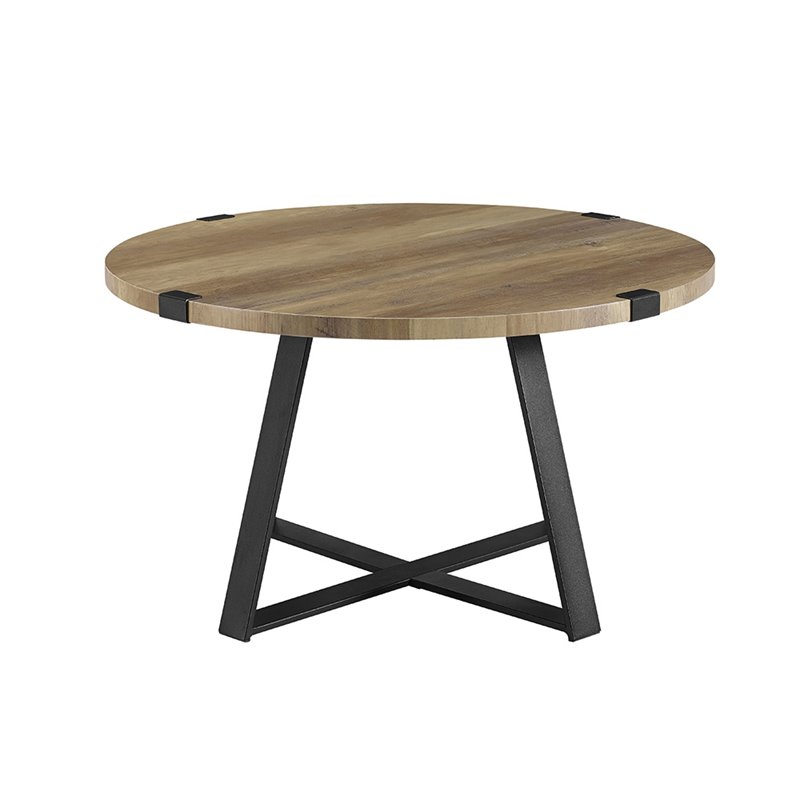 Black Oak Round Coffee Table: Walker Edison 30 Metal Wrap Round Coffee Table