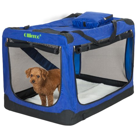 Ollieroo 3 Doors Foldable Portable Dog Crate Travel Pet Home Indoor