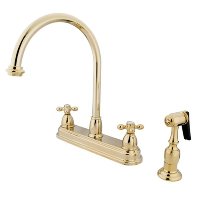 8 Inch Center Kitchen Faucet With Side Sprayer   Polished Brass