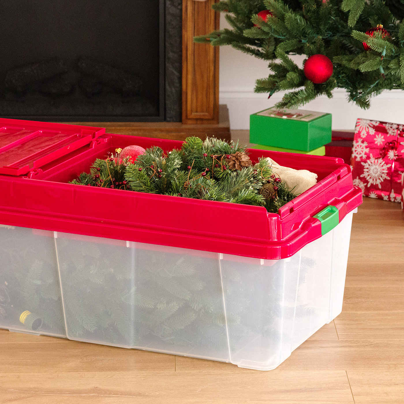 Christmas Tree Bin Cage.Iris Holiday Tree Storage Tote With Compartment Lid Red