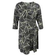 JM Collection Women's 3/4 Sleeve Faux Wrap Dress