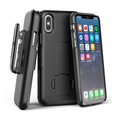 iPhone X Edition Belt Clip Case Slim Fit Holster Shell Combo (w/ Rubberized Grip Finish) (Black)