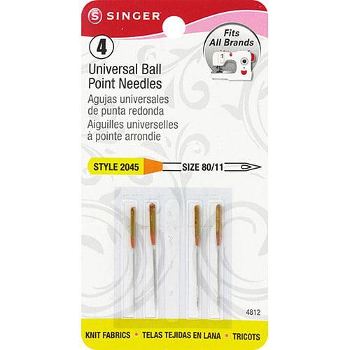Singer Ball Point Machine Needles, Size 11/80, 4pk