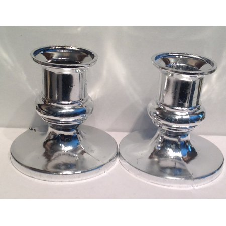 12 Silver Plastic Acrylic Candle Holders for Taper - Silver Tamper