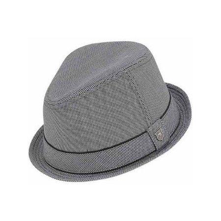 Peter Grimm Men's Grey Duke Classic Fedora Hat w/ Striped Brim Size (S/M) NEW - Striped Fedora