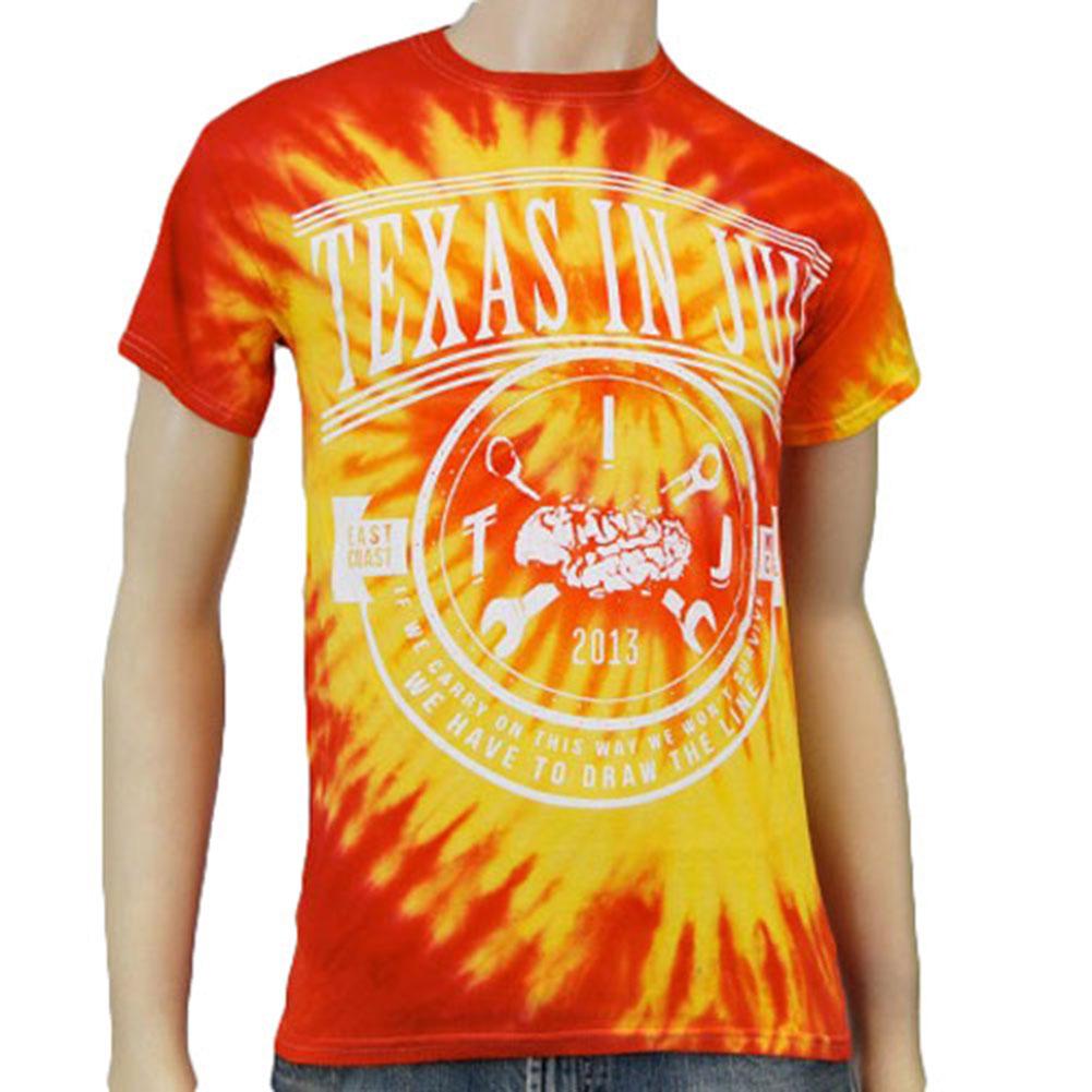 Texas In July Men's  Draw The Line Tie Dye T-shirt Black