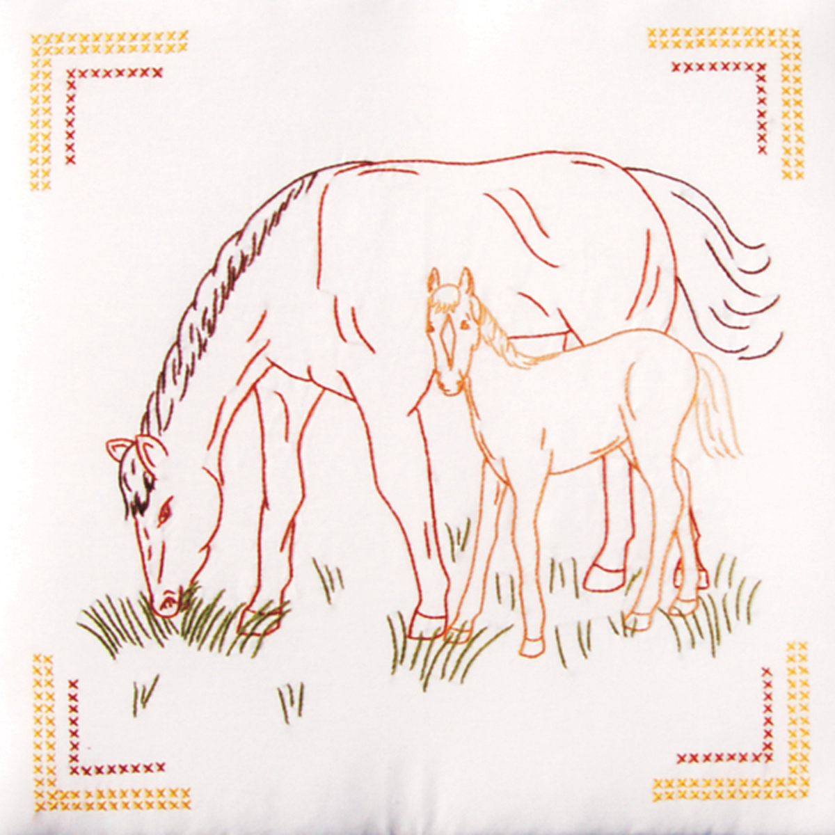 """Jack Dempsey Colt And Mare Stamped White Quilt Blocks, 18"""" x 18"""""""
