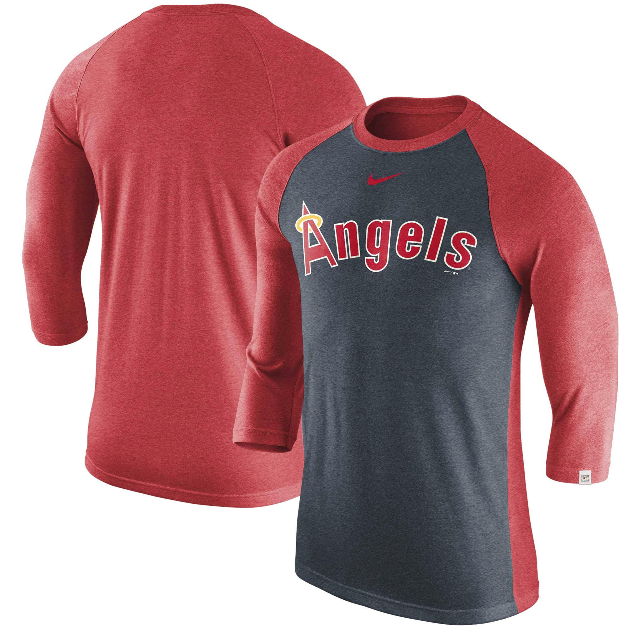 Los Angeles Angels Nike Wordmark Tri-Blend Raglan 3/4-Sleeve T-Shirt - Navy/Red