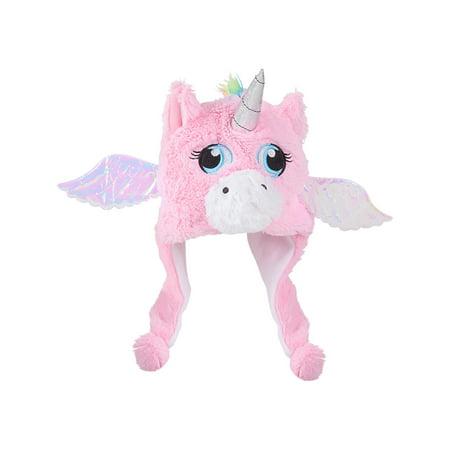Child's Plush Pink Mythical Flying Unicorn Hat Costume Accessory
