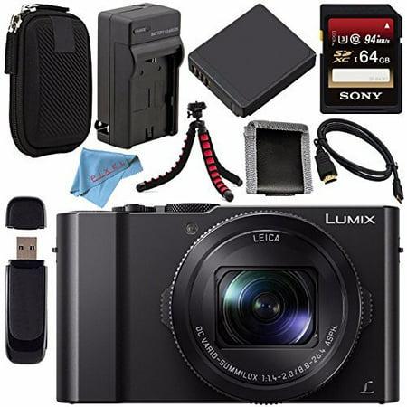 Panasonic Lumix DMC-LX10 DMC-LX10K Digital Camera + DMW-BLH7 Lithium Ion Battery + Charger + Sony 64GB SDXC Card + Case + Flexible Tripod + HDMI Cable + Memory Card Wallet + Fibercloth Bundle