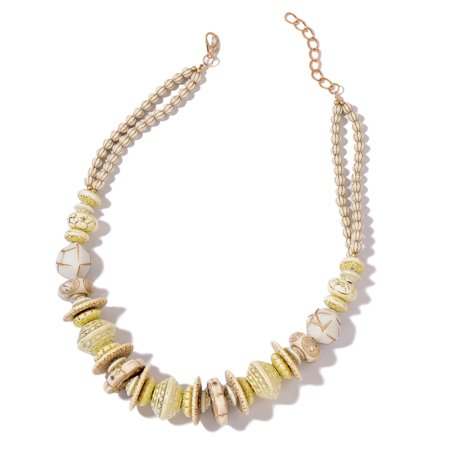 Designer Inspired Cream Chroma Necklace Yellow Plated Gift Jewelry for Women Size 24