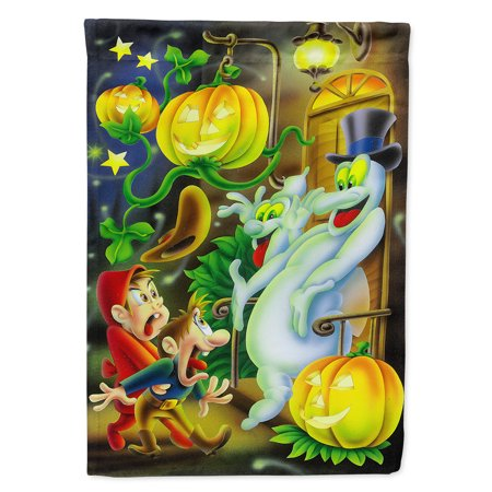 Scary Ghosts and Halloween Trick or Treaters Garden Flag
